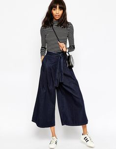 ASOS+Denim+Super+Wide+leg+Jeans+with+Tie+Waist+in+Indigo