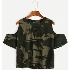 Camo Print Ripped Open Shoulder T-shirt (165 HNL) ❤ liked on Polyvore featuring tops, t-shirts, green, cotton tee, cold shoulder tops, green t shirt, distressed tees and short sleeve tee
