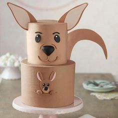 A cute cake any mom or mom-to-be is sure to love, this Kangaroo Surprise Cake is sure to be a hit at any occasion. Wilton Cakes, Fondant Cakes, Cupcake Cakes, Fondant Rose, Dog Cakes, Fondant Baby, Fondant Flowers, Fondant Figures, Baby Shower Cake Sayings