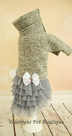 Warm jersey dog dress Custom made dog dress Designer dog dress