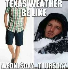 Memes capture the craziness that is Texas weather Weather Jokes, Funny Weather, Frozen Funny, Texas Quotes, Texas Texans, Southern Humor, Texas Humor, Texas Weather, Only In Texas