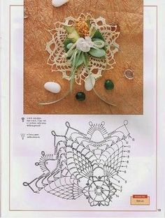 World crochet: Decoration 21 Crochet Tablecloth, Crochet Doilies, Crochet Flowers, Crochet Stitches, Crochet Patterns, Diy Wedding Day, Diy And Crafts, Paper Crafts, Pineapple Crochet