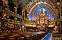 Interior of the Basilica de Notre Dame cathedral in Montreal