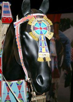 Native American beaded horse mask