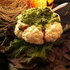 "Halloween Brain Dip. The cauliflower forms a ""brain"" bowl - add whatever dip you want as long as it's gruesome looking!"