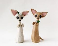 Chihuahua wedding cake toppers
