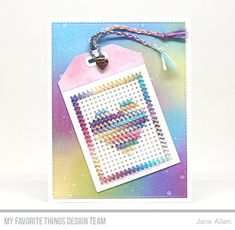 Die-namics: Cross-Stitch Tag, A2 Stitched Rectangle STAX Set 2  Jane Allen #mftstamps