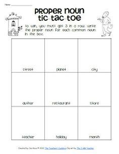 Free!! Proper nouns tic tac toe...fun reinforcer!