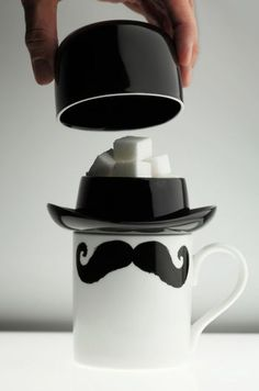 Moustache mug with sugar cube hat