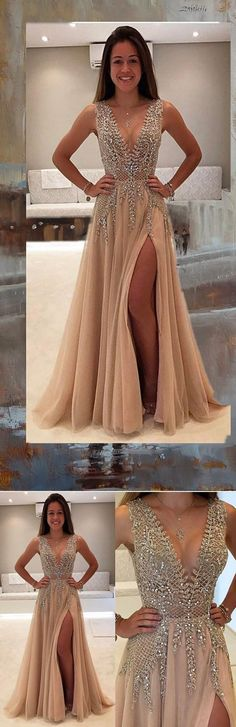 Deep V-Neck Prom Dress,Beaded Prom Dress,Fashion Prom Dress,Sexy Party Dress,Custom Made Evening Dress,Charming Sleeveless Prom Gown 2017,Prom Dresses