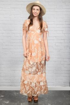 Mia Floral Lace Maxi Dress in Peach by For Love & Lemons | www.shopblueeyedgirl.com