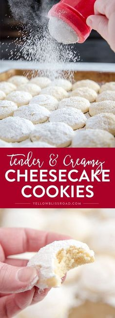 Healthy Recipes Cheesecake Cookies - A creamy, tender and delicious cookie that's a not too sweet but totally addictive dessert! - Cheesecake Cookies - A creamy, tender and delicious cookie that's a not too sweet but totally addictive dessert! Brownie Desserts, Cheesecake Cookies, Just Desserts, Delicious Desserts, Dessert Recipes, Yummy Food, Yummy Eats, Yummy Appetizers, Yummy Snacks