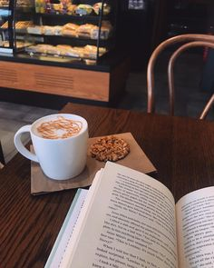 Do you have a favorite reading spot? I love curling up on the sofa to read, but I also love reading at the cafe with the smell of coffee… Coffee Study, Coffee And Books, Coffee Break, Coffee Cafe, Coffee Drinks, Coffee Shop, Drinking Coffee, Aesthetic Coffee, Espresso