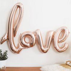 Rose Gold Love Script Balloon - The Sweet Hostess