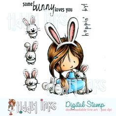 Show your love on Easter with this Somebunny Loves You Easter stamp. Buy unique and fun digital stamp by Tiddly Inks easily today.