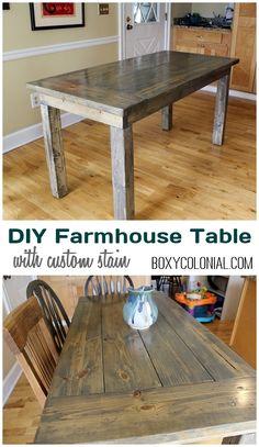 DIY Farmhouse Table with  Custom Stain