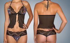 4466e5304e Chicago Bears sexy lace camisole lingerie top - matching scallop lace G  string set