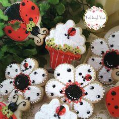 Decorated cookies, summer cookies, lady bug cookies, flower cookies, cupcake cookies,