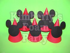 10 Mickey Mouse party hats by kimberlysfoamparty on Etsy, $17.50