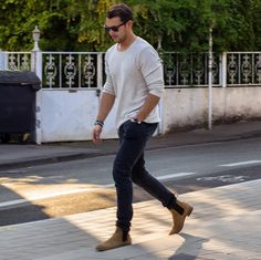 trends4men: LOOK INSPIRATION. Lovely combination with camel chelsea boots. @sandroisfree