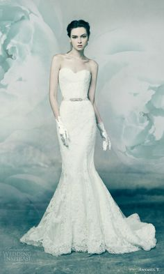 annasul y bridal 2016 variscite strapless sweetheart mermaid trumpet lace wedding dress