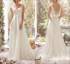 2014 New White Lace Cap Sleeve A-Line Floor Length Wedding Dresses Bridal Gown