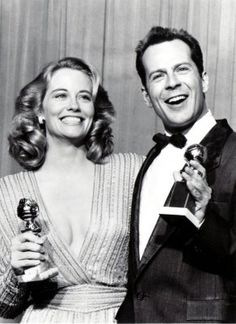 Cybill Shepherd and Bruce Willis after winning Best Actress and Actor in a Comedy Series for 'Moonlighting' at the 44th Golden Globes, 1/31/87.