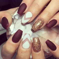 Burgundy, Gold And White Nails