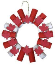 Toilet Paper Wreath-Canada Day Needed: coat hanger, toilet paper rolls, red paint, glue, tape scissors Canada Day Party, Summer Crafts, Holiday Crafts, Summer Fun, Activities For Kids, Crafts For Kids, Children Crafts, Daycare Crafts, Canada Day Crafts