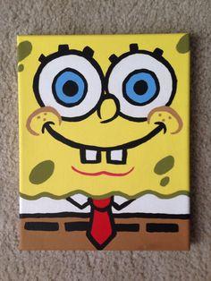 Spongebob Canvas #canvaspaintingkids Spongebob Painting, Cartoon Painting, Painting & Drawing, Canvas Paintings For Kids, Acrylic Painting For Kids, Disney Paintings, Easy Canvas Painting, Diy Painting, Easy Paintings