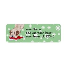 Yellow Labrador Puppy with Santa Hat Christmas Return Address Labels by Naomi Ochiai