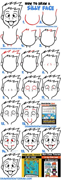 How to Draw Cartoon Facial Expressions : Silly Faces, Tongue Sticking Out - How to Draw Step by Step Drawing Tutorials Happy Cartoon, Cartoon Boy, Cartoon Drawings, Easy Drawings, Facial Expressions Drawing, Drawing Tutorials For Beginners, Angry Face, How To Draw Steps, Boy Face