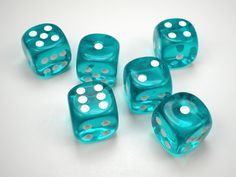 Chessex Translucent Teal w/White 16mm d6 Dice