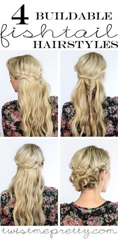 4 build-able fishtail hairstyles.  I'm seriously in love with the fishtail crown and that fishtail up-do, so gorgeous!  DIY tutorial at Twist Me Pretty