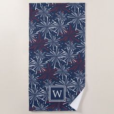 #Summer Fireworks Pattern Monogram Beach Towel - #4thofjuly #patriotic #patriot Independence Day Fourth of July July Fourth waving the flag