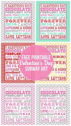 Valentine's Day printable decor - free subway art