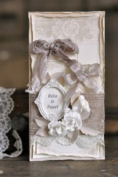 A beautiful wedding card with lace and papers from the Vintage Wedding collection