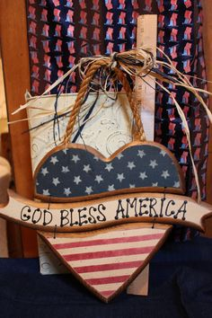 Patriotic Heart, Heart Sign, Americana Heart Sign, God Bless America Sign, Wood Sign, Painted Wood Sign, Patriotic Sign,Military Spouse Gift by BrownBeaverBeadery on Etsy