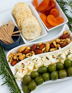 Rosemary Roasted Nuts & The Perfect Party Tray + A Giveaway! Party Food Trays, Party Platters, Cheese Platters, Party Snacks, Veggie Cheese, Food Wishes, Roasted Nuts, Food Decoration, Football Food