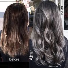 Are you looking for ombre hair color for grey silver? See our collection full of ombre hair color for grey silver and get inspired! Brown Hair With Silver Highlights, Highlights For Greying Hair, White Highlights, Grey Balayage, Balayage Highlights, Balayage Hair, Grey Ombre Hair, Grey Brown Hair, Brown And Silver Hair