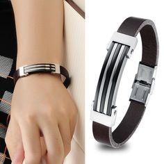 Punk Fashion Titanium Steel Leather Bracelet Man's Bangles