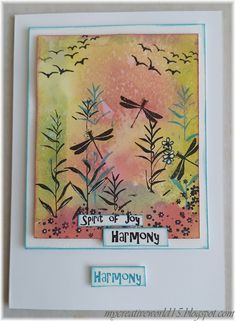 Harmony Hello, today I´d like to share my card Harmony. I used Lavinia stamps. I created the background with Gelli Printing Plate. Lavinia Stamps, Gelli Printing, Distress Oxides, Broken China, Happy Day, I Card, Creativity, Joy, Prints