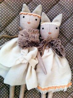 Soft cat doll Rag doll handmade one of a kind by lespetitesmainsS