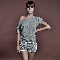 Women's Luxury Basic Gray T-shirt With U Neck by BasicsClothing