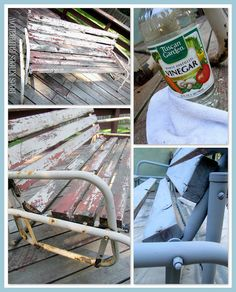 Use vinegar to help paint stick to rusty metal. Just rub it on with a rag. Who knew? So thats what I did with my glider. I poured vinegar onto a rag and rubbed it on to the metal. It dries almost instantly. I spray painted on grey primer. Metal Furniture, Paint Furniture, Furniture Projects, Furniture Makeover, Garden Furniture, Wood Projects, Glider Redo, Patio Glider, Wood And Metal