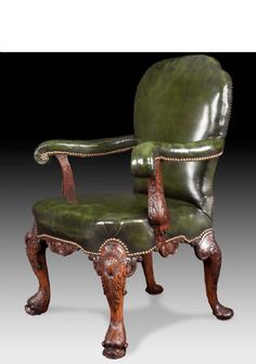 GEORGE11 STYLE WALNUT LIBRARY CHAIR
