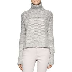 Calvin Klein Turtleneck Long Sleeve Sweater featuring polyvore, women's fashion, clothing, tops, sweaters, soft grey, long sleeve pullover sweater, gray sweater, gray turtleneck sweater, grey turtleneck sweater and long sleeve tops