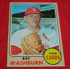 Ray Washburn 1968 Topps #388 St. Louis Cardinals baseball card *FREE SHIPPING!*