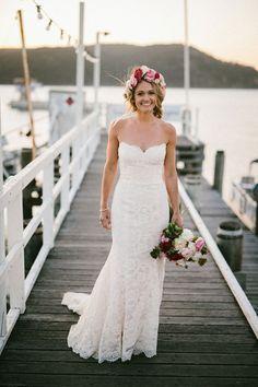 KATIE + SEAN // #wedding #bride #bridal #dress #gown #lace #strapless #flowercrown #bouquet #flowers #pink #cream #white #pretty