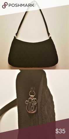 """Vera Bradley black quilted purse This cute and elegant black quilted Vera Bradley purse will go with everything in your closet. *excellent condition *11.5""""L x 6""""H x 2.5""""-3""""W *top zip closure with silver hardware *1 inner zip pocket *20"""" handle with 22"""" drop Vera Bradley Bags Shoulder Bags"""